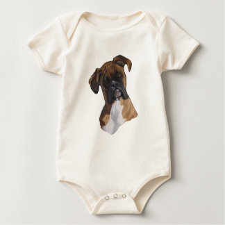 Boxer: Dog: Oil Pastel: Freehand Art Illustration Baby Bodysuit