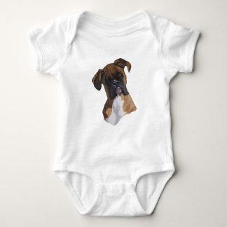 Boxer: Dog: Oil Pastel: Freehand Art Illustration Baby Bodysuit