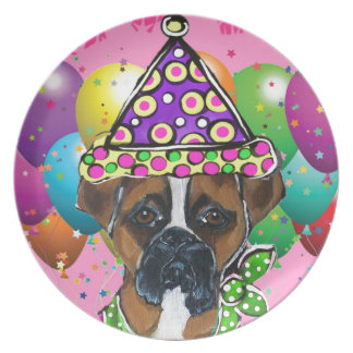 Boxer Dog Party Dog Plate