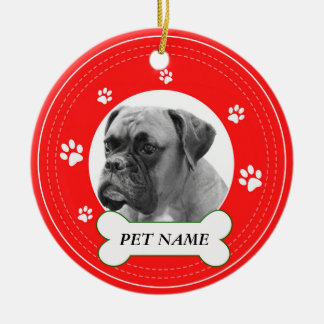 Boxer Dog Red Paws Print Ceramic Ornament