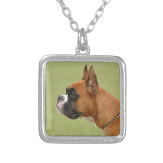 Boxer Dog Silver Plated Necklace