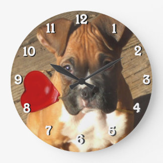 boxer dog square clock