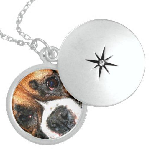 Boxer dog sterling silver round locket