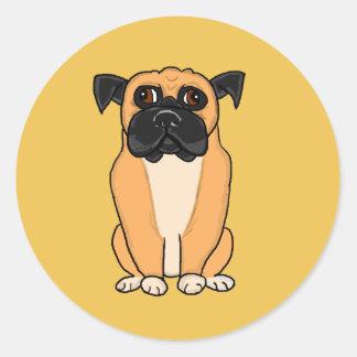 Boxer dog round sticker