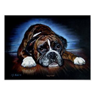 "Boxer ""Dog Tired""  12x16inches print poster"