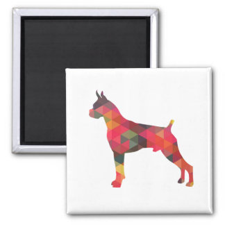 Boxer Dog Watercolor Geometric Pattern Silhouette Square Magnet