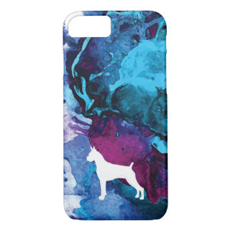 Boxer Dog Watercolor in Blues and Purples iPhone 8/7 Case