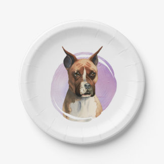 Boxer Dog Watercolor Painting Paper Plate