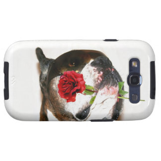 Boxer dog with rose samsung galaxy s3 case
