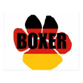 boxer flag paw name postcard