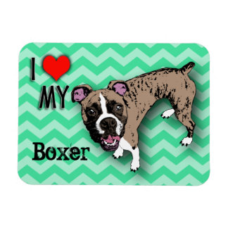 Boxer Green Monochromatic Chevron Fridge Magnet