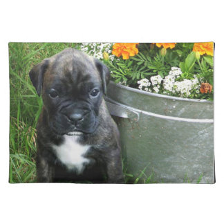 boxer in flowers place mats