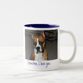 Boxer love grandma Two-Tone coffee mug
