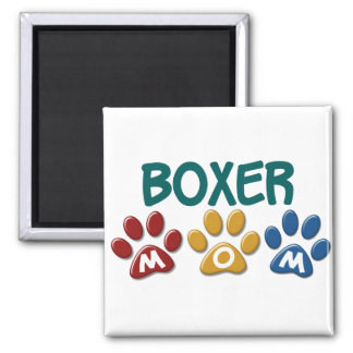 BOXER MOM Paw Print 1 Square Magnet