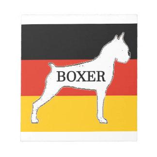 boxer name silo on flag white notepad