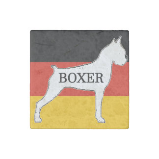 boxer name silo on flag white stone magnet