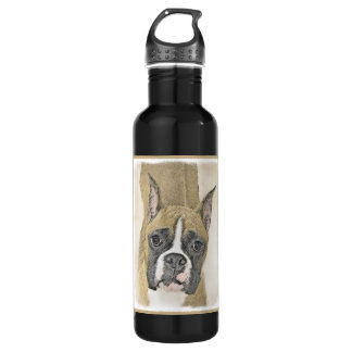 Boxer Painting - Cute Original Dog Art 710 Ml Water Bottle