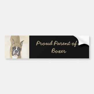 Boxer Painting - Cute Original Dog Art Bumper Sticker