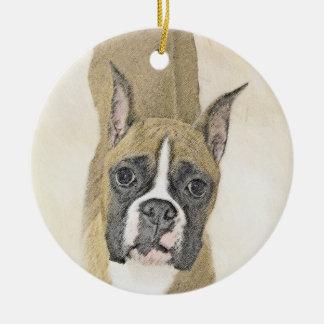 Boxer Painting - Cute Original Dog Art Ceramic Ornament