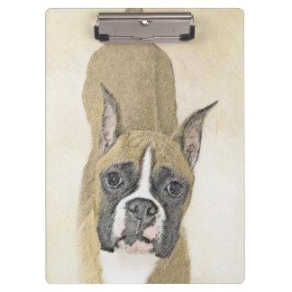 Boxer Painting - Cute Original Dog Art Clipboard