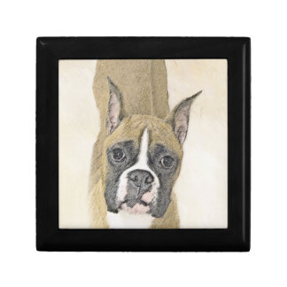 Boxer Painting - Cute Original Dog Art Gift Box