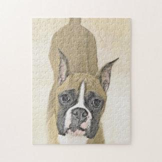 Boxer Painting - Cute Original Dog Art Jigsaw Puzzle
