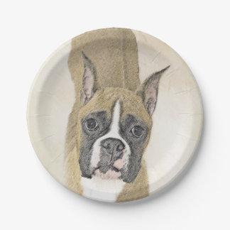 Boxer Painting - Cute Original Dog Art Paper Plate