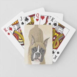 Boxer Painting - Cute Original Dog Art Playing Cards
