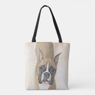 Boxer Painting - Cute Original Dog Art Tote Bag