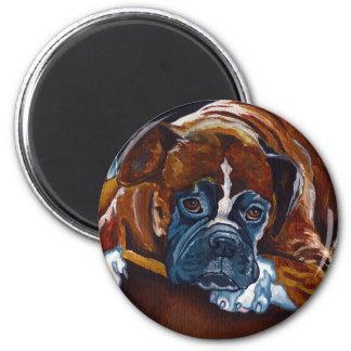 "Boxer ""Patience"" 6 Cm Round Magnet"