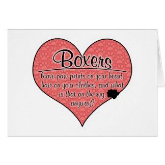 Boxer Paw Prints Dog Humor Card