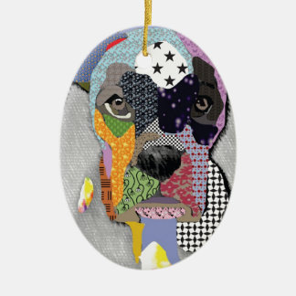 Boxer Portrait Ceramic Ornament