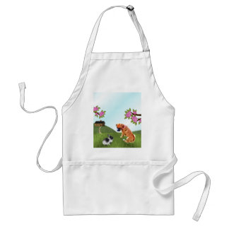 Boxer Pup and Bunny in Grass Standard Apron