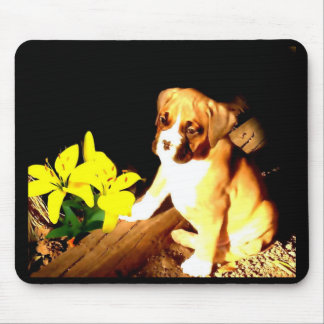 boxer pup and yellow daylilies mousepad