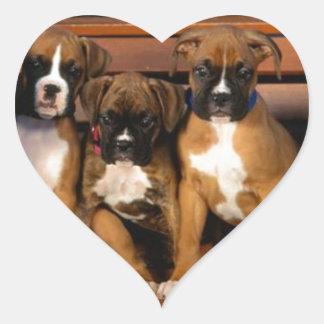 Boxer Puppies Heart Sticker
