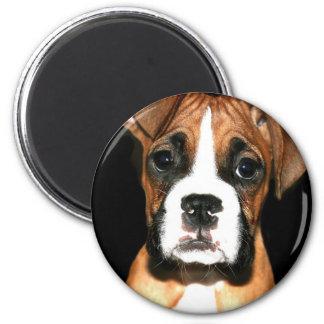 Boxer puppy dog 6 cm round magnet