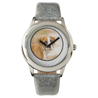 Boxer Puppy Dog Gray Glitter Band Watch