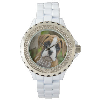 Boxer Puppy Dog Photo Boxers Text Wristwatch