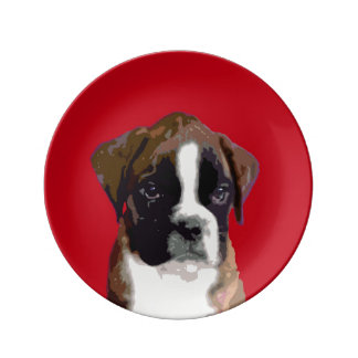 Boxer puppy dog plate