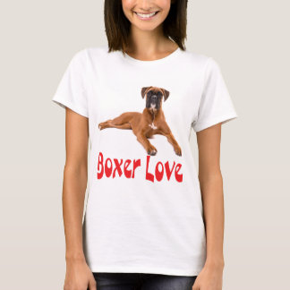Boxer Puppy Dog Red Love Womens Tee Shirt