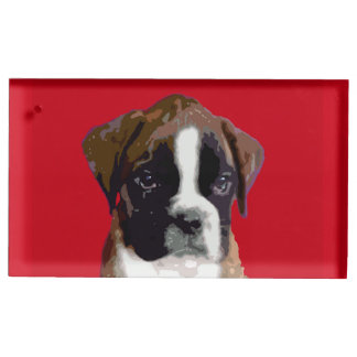 Boxer puppy dog table card holder