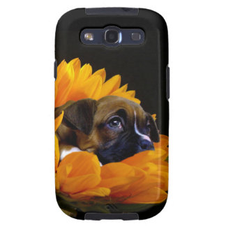 Boxer puppy in sunflower galaxy SIII cases