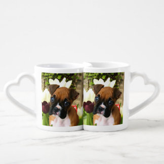 Boxer puppy in tulips lovers mug set