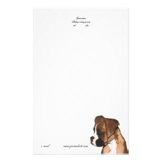 Boxer puppy letterhead customized stationery