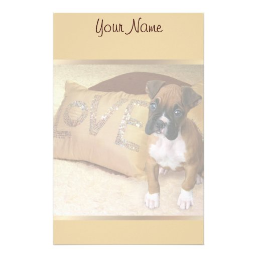 Boxer puppy love stationary customized stationery