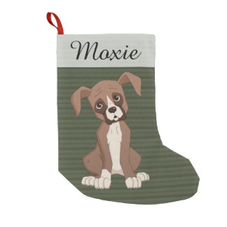 Boxer puppy on a Green Christmas Pattern