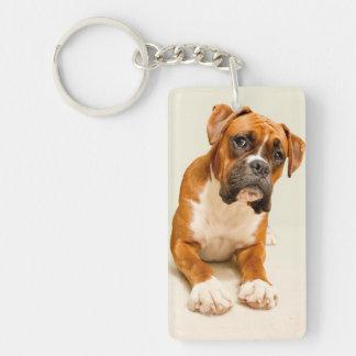 Boxer puppy on ivory cream backdrop. Double-Sided rectangular acrylic key ring