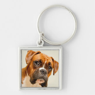 Boxer puppy on ivory cream backdrop key chain