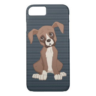 Boxer puppy on Navy Blue Pattern Background iPhone 8/7 Case