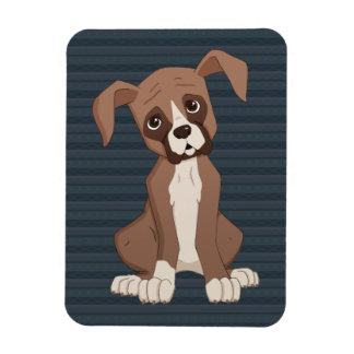 Boxer puppy on Navy Blue Pattern Background Rectangular Photo Magnet